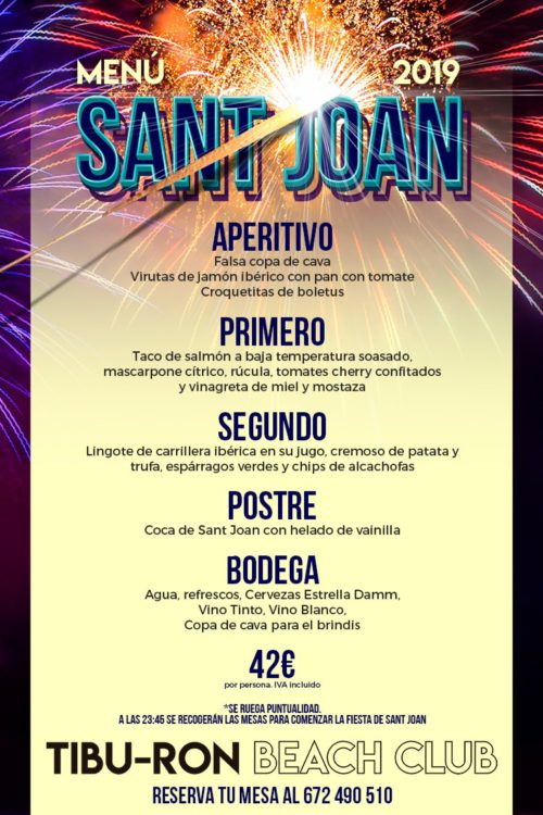 Menu SantJoan Tibu-Ron Beach Club